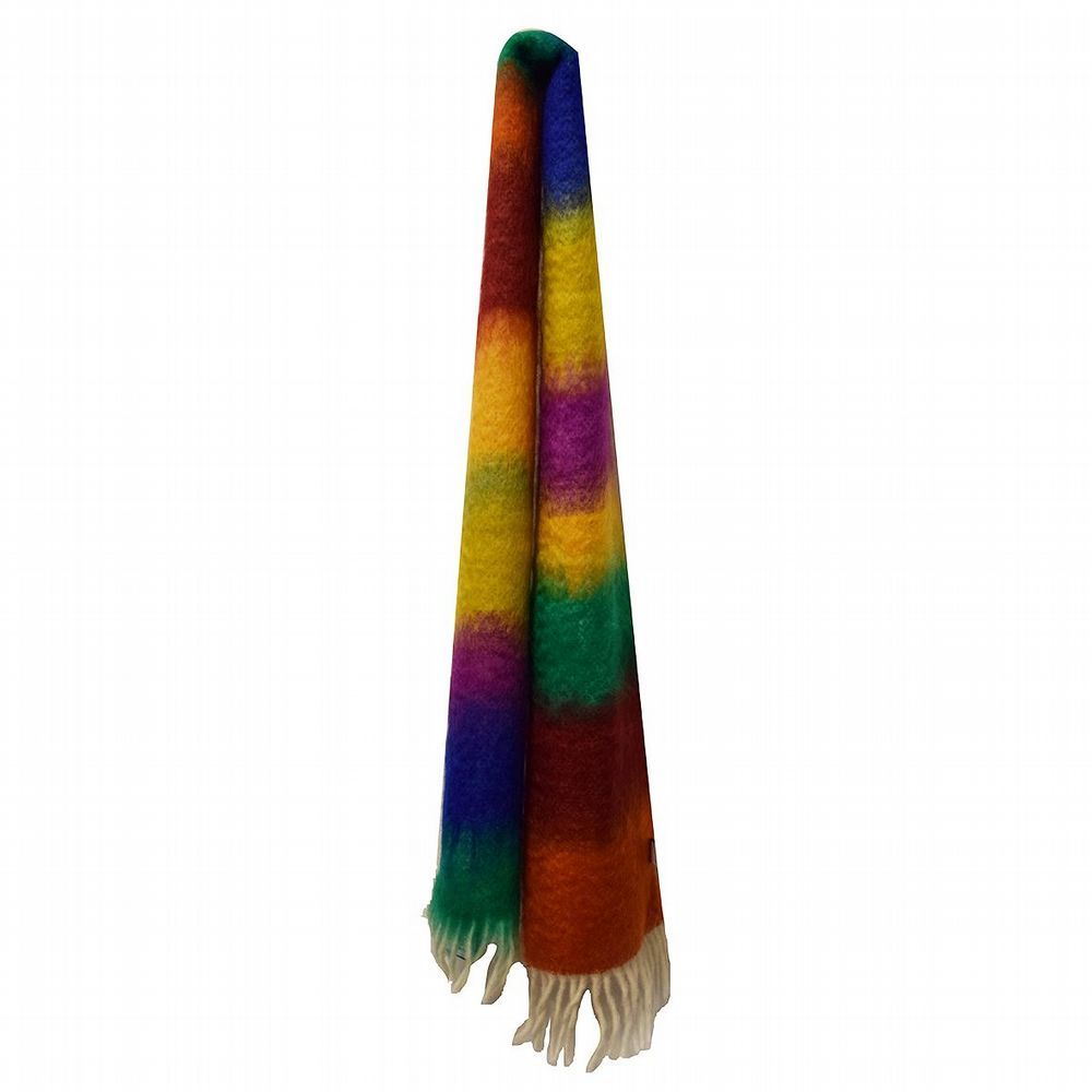 Striped Mohair Scarf - Violet / Green